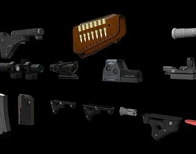 3D model 60 Game Ready Low Poly Weapon Accessories