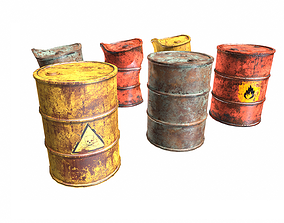 Metal painted old oil and fuel barrels collection 3D asset