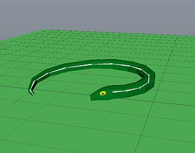 Snake Low Poly Cartoon Model 3D asset