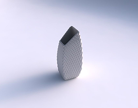 Vase bent rectangle with grid piramides 3D printable model
