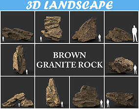3D Low poly Brown Granite Rock Formation Pack 2 200208