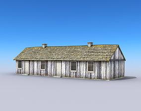 Big Wooden Barracks 3D asset