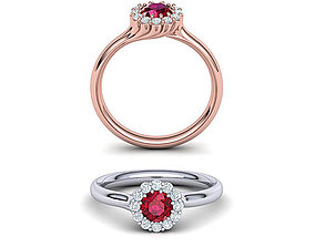 Ruby Engagement ring Unique design N10341 3D print model 1