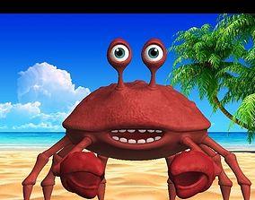 3D asset cartoon rigged crab