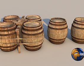 Medieval Barrel 3D Model VR / AR ready PBR pbr