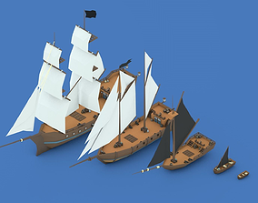 Low Poly Pirate Ships 3D asset