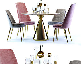 West Elm Silhouette Table and Finley Chair 3D
