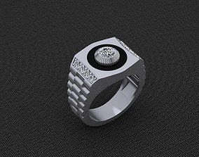 3D printable model Rolex ring with diamonds and obsidian