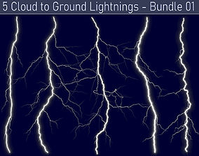 3D Realistic Lightnings Bundle 01 - 5 pack CG
