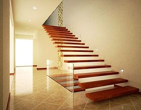 Modern hall and stairs with textures 3D asset