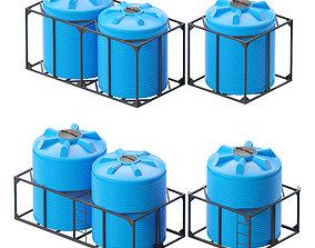 3D model box Iron crate for water barrels