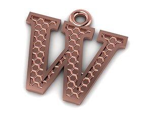 Alphabets Letter W Pendant 3D print model