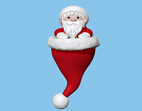 Saint Claus hat Christmas ornament to 3D printable model 2