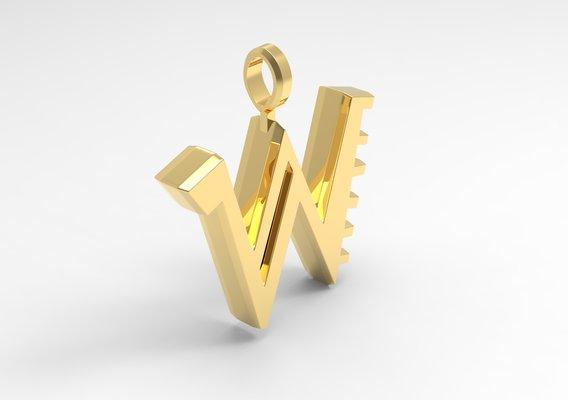 W Letter Pendant Gold