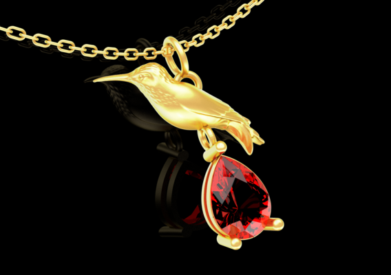 Hummingbird pendant jewelry gold necklace medallion Diamond V2 3D print model