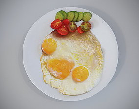 3D asset fried eggs