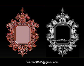 Mirror classical carved frame 3D print model reliefs