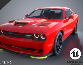 Dodge Challenger Hellcat 2016 PBR GameReady 3D model