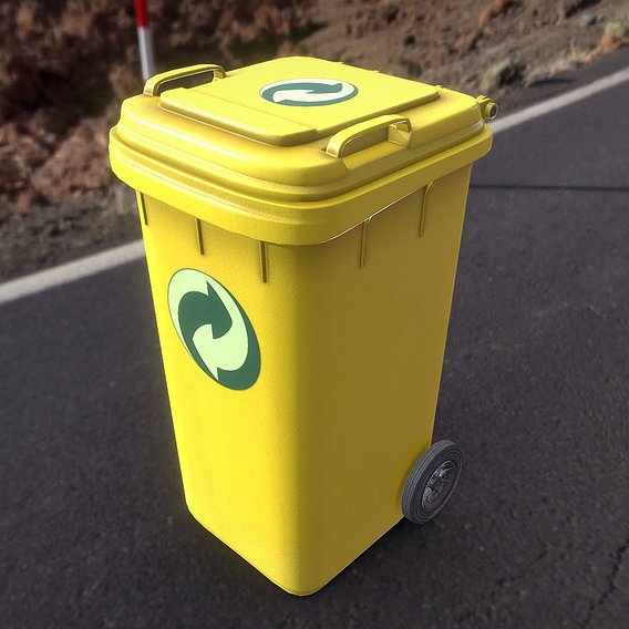 Yellow Plastic Waste Bin 240 Liters 1075x515x582