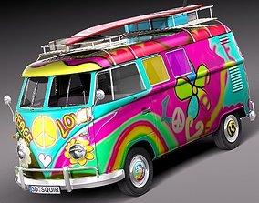 3D model Volkswagen Camper Van 1950 Hippy