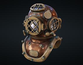 low-poly Rerto diver helmet - game ready 3D