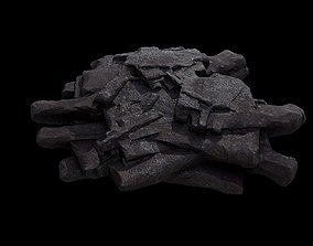 3D model Low poly sci fi flat rock plateau environment