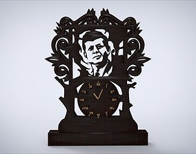Decorative clock furniture with John F Kennedy 3D asset 1