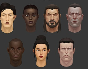 low poly heads with textures 3D model