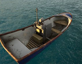 3D asset low-poly Motor Boat