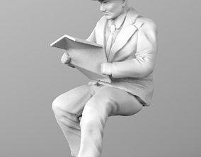 old man 3d model newspaper