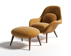 Swoon Chair with Footstool 3D model style
