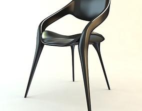 Black Plastic Chair Stackable 3D model