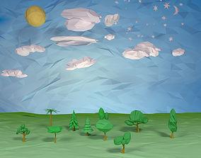 Trees clouds sun moon stars pack 3D asset