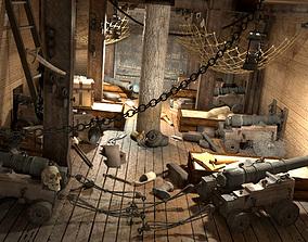 3D model Cabin to sleep pirate ship
