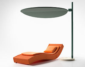 3D model Wave Chaise with Ombra Sunshade