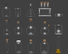 Chemical glassware kit low poly 3D asset