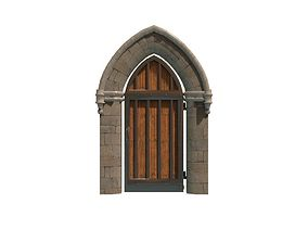 Medieval Doorway 3D model game-ready