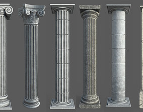 9 Low Poly Roman Columns 3D asset