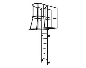 3D asset Fire escape stair Black