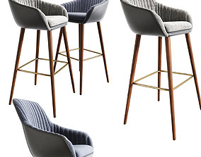 3D model Rochelle Strip Bar Stool And Dining Chair