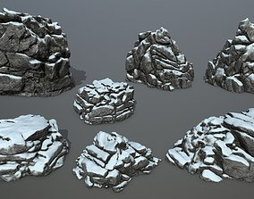 3D asset realtime snow rocks mossy
