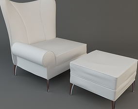 3D model White Chair Ottoman