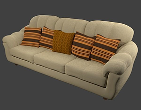 Couch and Pillows - Microfiber 3D model