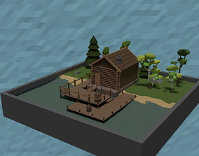 LowPoly Fishermans Hut 3D model low-poly