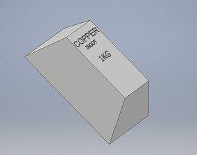 Copper Ingot 1kg real dimensions green sand 3D asset