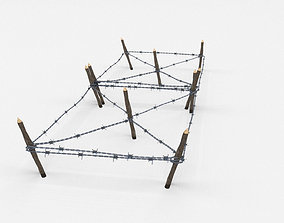 Low Poly Barb Wire Obstacle 3D asset trench