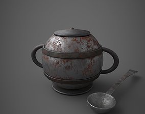 3D model Medieval Tavern Soup pot and Spoon
