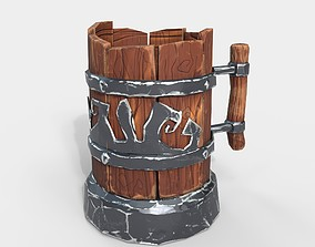 Low-Ploy Stylized Wooden Mug 3D asset