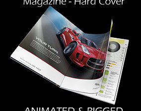 3D Magazine Hard Cover Opening Rigged Animated