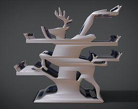 Shelf with deer ornaments 3D printable model